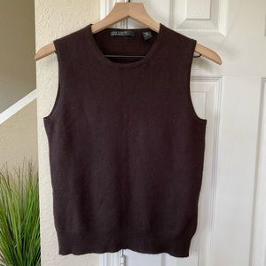 Lord & Taylor Cashmere Brown Vest Size Medium
